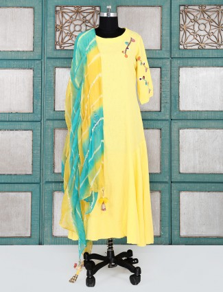 Bright yellow color cotton kurti