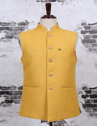 Bright yellow color plain waistcoat