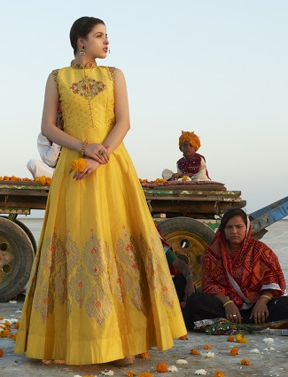 Bright Yellow color silk anarkali suit