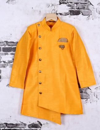 Bright yellow color silk fabric indo western