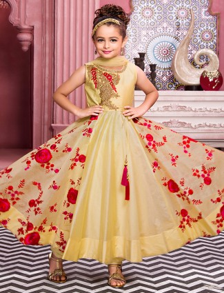 Bright yellow color silk girls anarkali suit