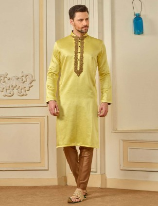 Bright yellow colored cotton silk kurta suit