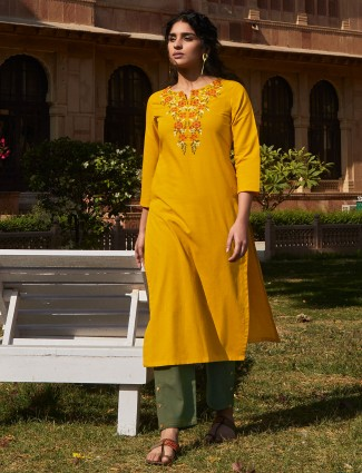 Bright yellow cotton punjabi pant suit