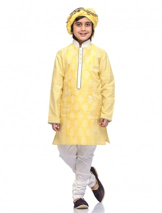 Bright yellow cotton silk kurta suit