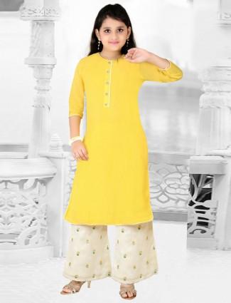Bright yellow hue punjabi palazzo suit