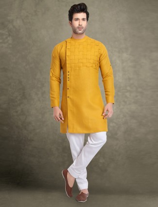 Bright yellow mens cotton kurta suit