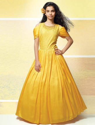 Bright yellow raw silk fabric gown
