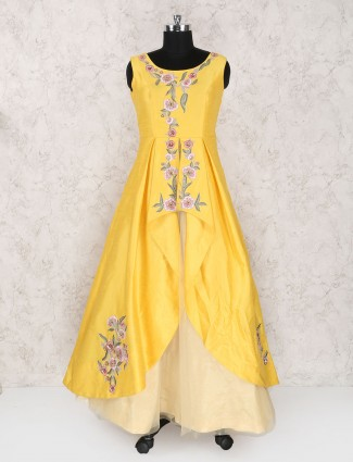 Bright yellow raw silk gown