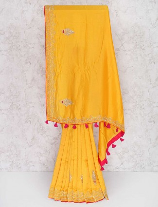 Bright yellow semi silk festive saree