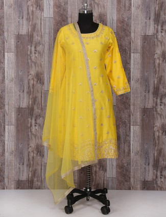 Bright yellow silk palazzo suit