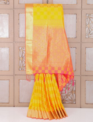 Bright Yellow silk wedding wear saree