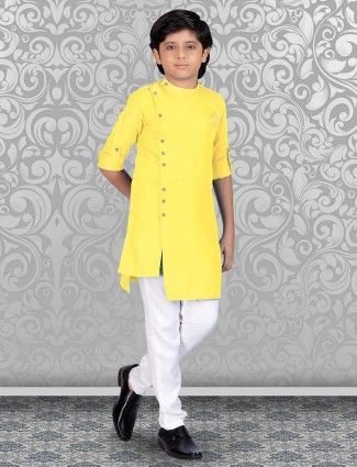 Bright yellow solid kurta suit in cotton