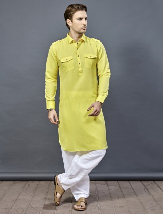 Bright yellow solid pathani suit in cotton