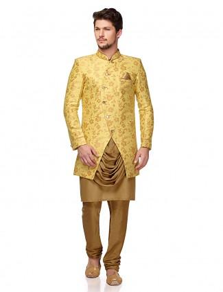 Bright yellow terry rayon designer semi indo western