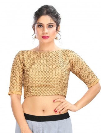 Brocade goden blouse in the cotton silk fabric