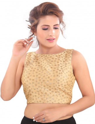 Brocade gold raw silk readymade blouse