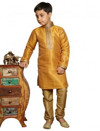 Brocade gold festive wear boys kurta suit