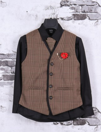 Brown and black color waistcoat set