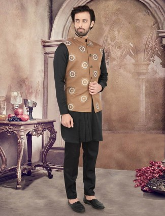Brown and black cotton party wear cotton waistcoat set