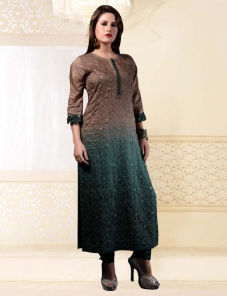 Brown and green cotton silk long kurti
