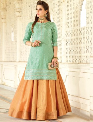 Brown and green hue cotton silk lehenag cum salwar suit