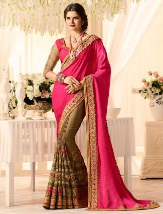 Brown and magenta half and half saree
