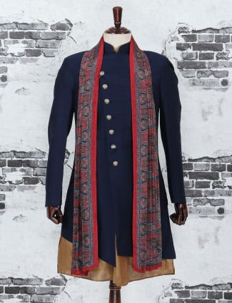 Brown and navy color terry rayon indo western