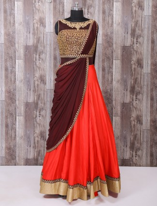 Brown and red color silk gown