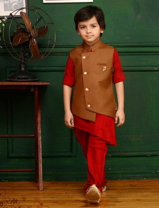 Brown and red two piece waistcoat set