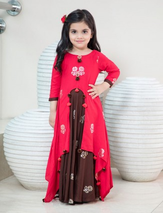 Brown and rust orange girls gown
