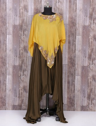 Brown and yellow color satin silk one piece suit