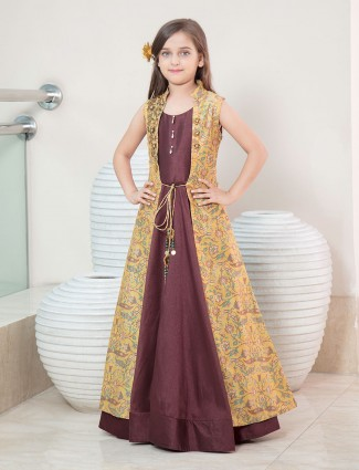 Brown and yellow jacket style girls gown