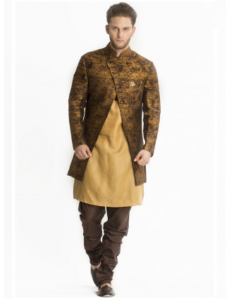 Brown beige silk indo western
