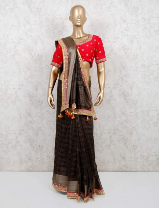 Brown chanderi cotton party saree with readymade blouse