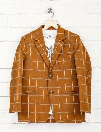 Brown checks terry rayon fabric blazer