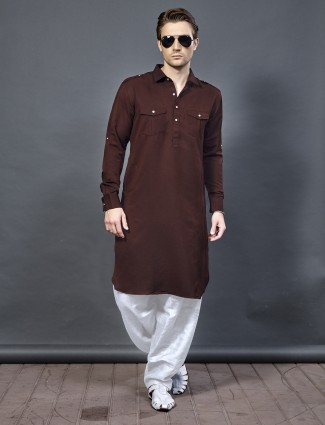 Brown color cotton fabric pathani suit