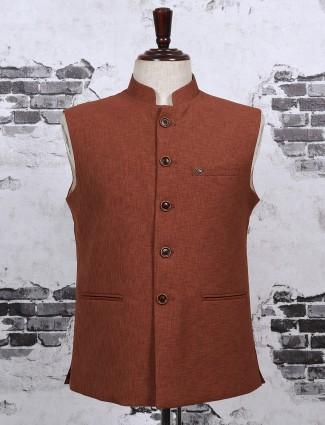 Brown color cotton jute waistcoat