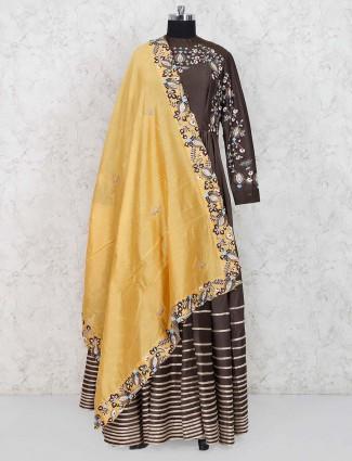Brown color cotton silk anarkali salwar suit