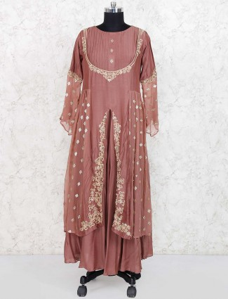 Brown color cotton silk designer anarkali salwar suit