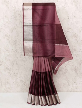 Brown color cotton silk sari