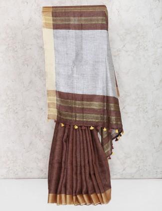 Brown color exclusive linen saree