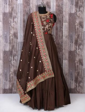 Brown color festive anarkali suit
