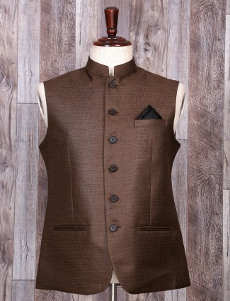 Brown color festive wear waistcoat