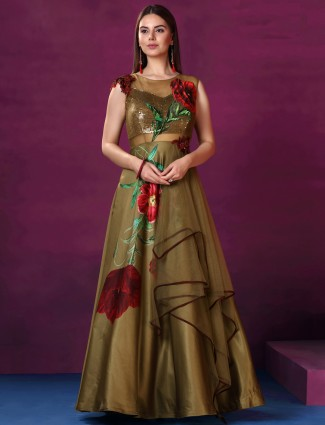 Brown color floor length gown in silk