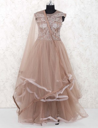 Brown color net party gown