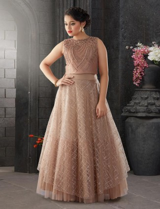 Brown color net wedding wear lehenga choli