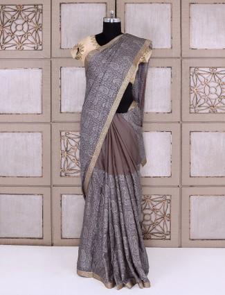 Brown color party wear saree