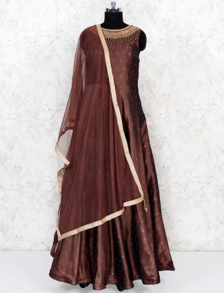 Brown color party wear silk floor length gown