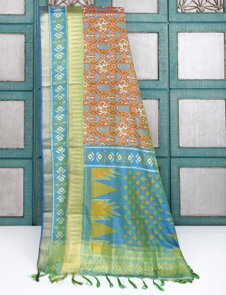Brown color patola printed saree
