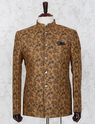 Brown color printed jute fabric jodhpuri blazer